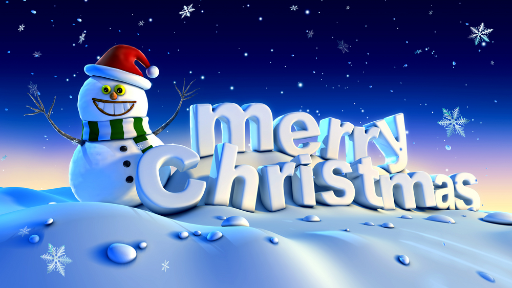 Cartoon snowman next to a 3D merry christmas message against a snowwy backdrop